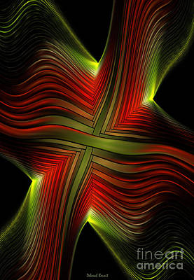Green And Red Lines Print by Deborah Benoit