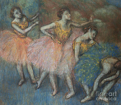 Green And Yellow Dancers Print by Edgar Degas