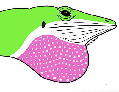 Python Drawing - Green Anole by Joe Richichi