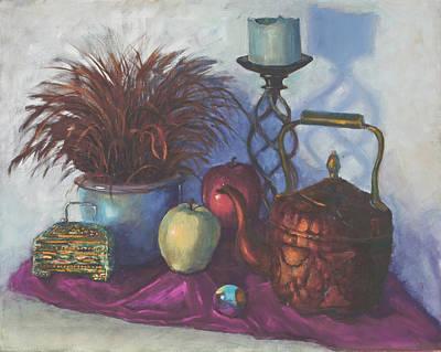Box Wine Painting - Green Apple by SharonJoy Mason