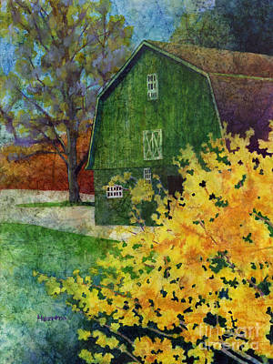 Forsythia Painting - Green Barn by Hailey E Herrera