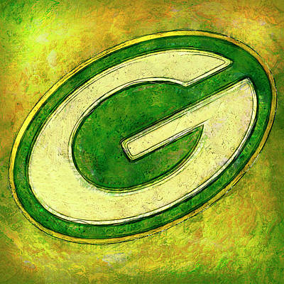 Kicking Digital Art - Green Bay Packers Logo by Jack Zulli
