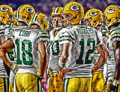 Aaron Rodgers Mixed Media - Green Bay Packers Team Art 2 by Joe Hamilton