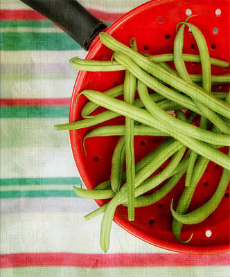 Green Beans Red Collander Print by Rebecca Cozart