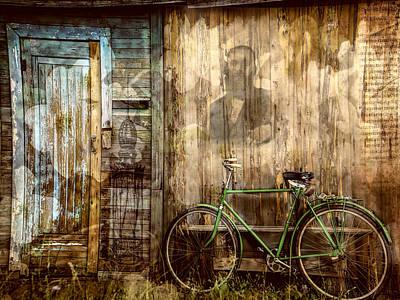 Rural Decay Mixed Media - Green Bike Crooked Door by Bellesouth Studio