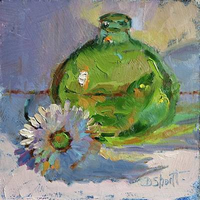 Green Bottle Print by Donna Shortt