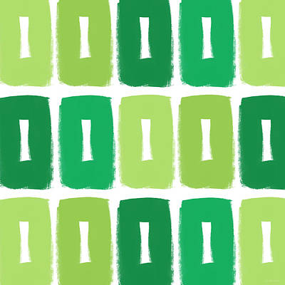 Green Boxes- Art By Linda Woods Print by Linda Woods