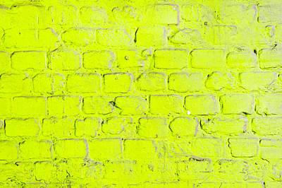 Lime Green Photograph - Green Brick Wall by Tom Gowanlock