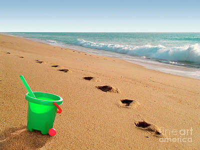 Shovel Photograph - Green Bucket  by Carlos Caetano