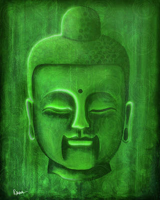 Simplicity Mixed Media - Green Buddha by Roly Orihuela