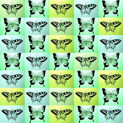 Abstract Image Of A Butterfly Drawing - Green Butterfly Fantasy by Cathy Jacobs