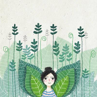 Growth Drawing - Green by Carolina Parada