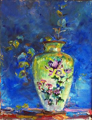 Mums Painting - Green Chinese Vase by Ann Bailey