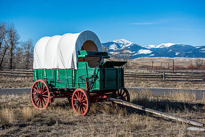 Cattle Drive Photograph - Green Covered Wagon by Paul Freidlund