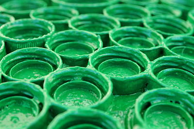 Bottlecaps Photograph - Green by Dan Holm