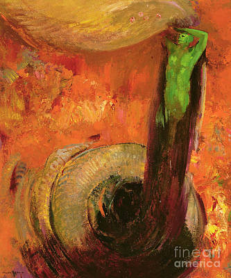 Bright Colours Painting - Green Death by Odilon Redon