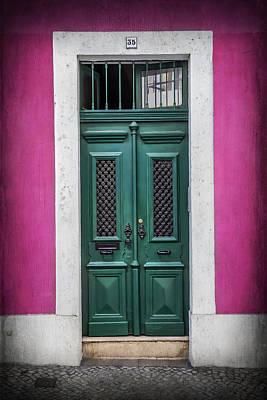 Framed Old Town Door Photograph - Green Door In Lisbon by Carol Japp