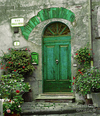 Green Door Print by Karen Lewis