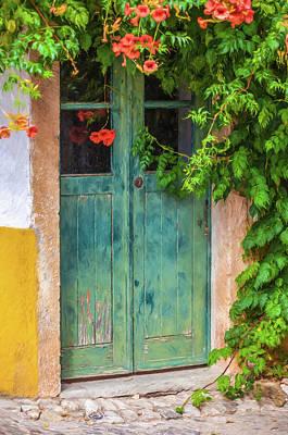 Green Door With Vine Print by David Letts