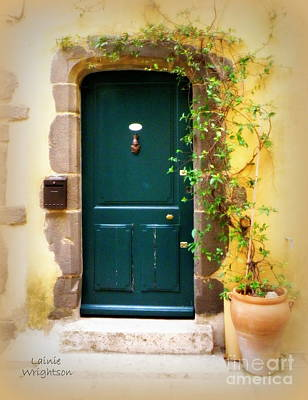 Green Door With Vine Print by Lainie Wrightson