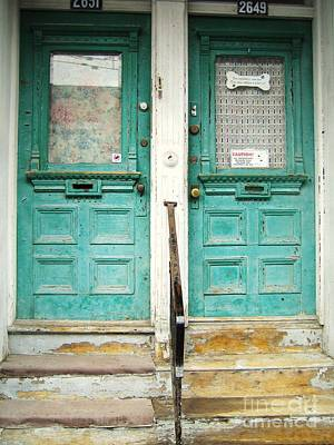 Old Montreal Photograph - Green Doors by Reb Frost