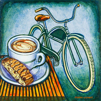 Green Electra Delivery Bicycle Coffee And Biscotti Print by Mark Howard Jones