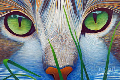 Feline Painting - Green Eyes by Brian  Commerford