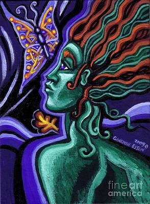Cosmic Painting - Green Goddess With Butterfly by Genevieve Esson
