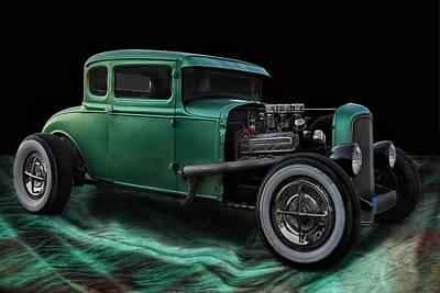 Modified Photograph - Green Hot Rod by Joachim G Pinkawa