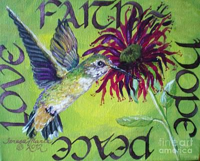 Faith Hope And Love Painting - Green Hummingbird Faith, Hope, Peace, Love by Teresa Marie Staal Cowley