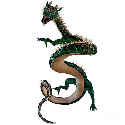 Green Jewel Dragon Print by Corey Ford