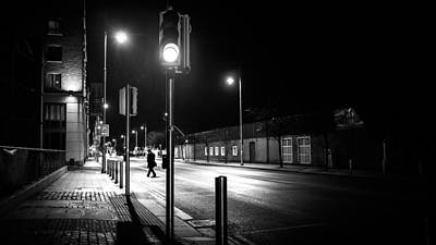 Faceless Photograph - Green Light - Dublin, Ireland - Black And White Street Photography by Giuseppe Milo