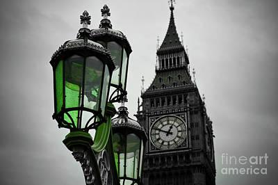 London Eye Digital Art - Green Light For Big Ben by Donald Davis