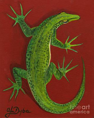 Green Lizard Print by Anna Folkartanna Maciejewska-Dyba