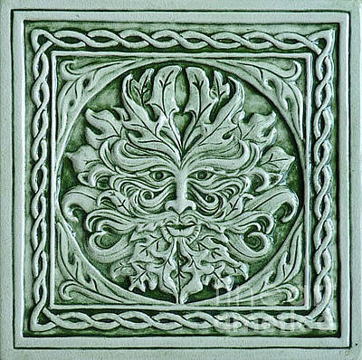 Ceramic Relief - Green Man Tile by Shannon Gresham