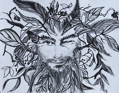 Charcoal Drawing - Green Man by Victoria General