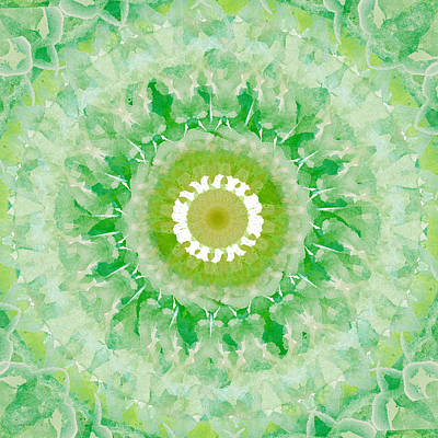 White Fractal Painting - Green Mandala- Abstract Art By Linda Woods by Linda Woods