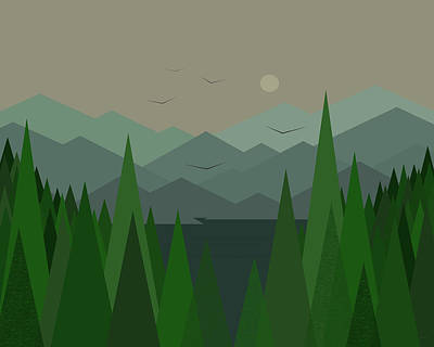 Minimalist Landscape Digital Art - Green Mist by Val Arie
