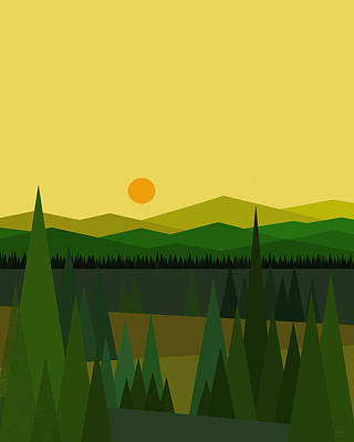 Green Mountains Print by Val Arie