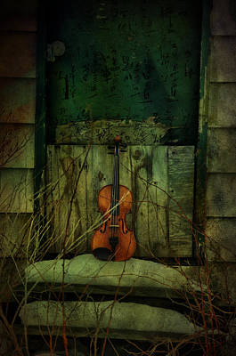 Violin Photograph - Green Music by Emily Stauring