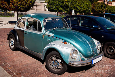 Old Crocks Photograph - Green Old Vintage Volkswagen Car by Arletta Cwalina