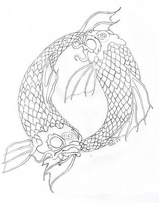 Koi Drawing - Green Or Red by Sally Siko