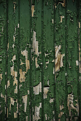 Weatherworn Photograph - Green Paint On Old Boards by Garry Gay
