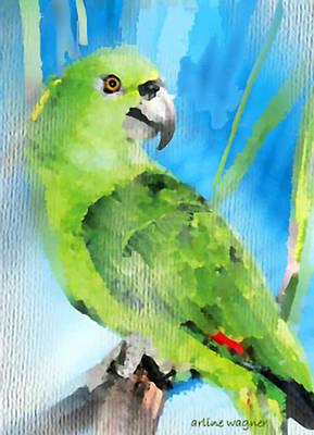 Parrot Digital Art - Green Parrot by Arline Wagner