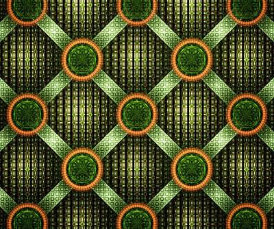 Orange Digital Art - Green - Pattern - Fractal by Anastasiya Malakhova