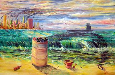 Beer Oil Painting - Green Peace by Robert Rombeiro