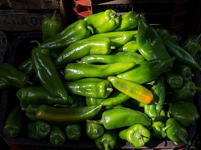 Green Peppers For Sale In The Souk Print by Panoramic Images