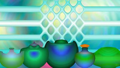 Green Pots Original by Eric Amsellem