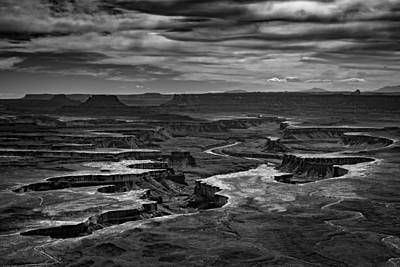The Plateau Photograph - Green River In Black And White by Rick Berk