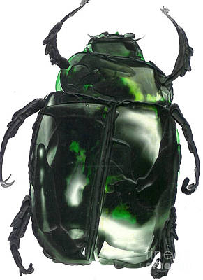 Green Scarab Original by Carolyn Polk